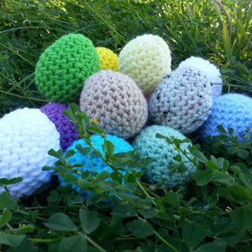 Set of Five Crochet Easter Eggs- Pastel, Natural Bird Eggs, or Bright!
