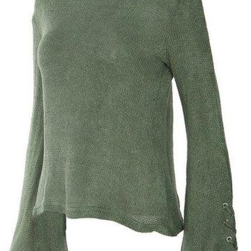 Grunge Bell Sleeve Loose Knit Sweater