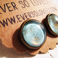 light blue ocean water and golden summer sunlight earrings and by EverSoLovely