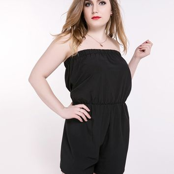 Really Love Women's Slash Neck Plus Size Black Summer Strapless Jumpsuits And Rompers Stretchy Waist Cocktail Party Wear