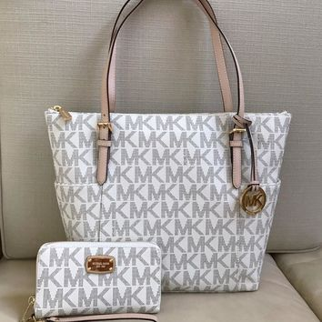 NWT Michael Kors Vanilla Jet Set EW Top Zip PVC Tote Bag With Wallet Set