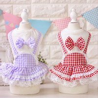Dog Dress Summer Plaid  Dog Clothes Dog Dress for Dogs Cats Maltese