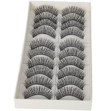 10 Pairs Black Long Thick Soft Reusable False Eyelashes Fake Eye Lash for Ma FSA | eBay