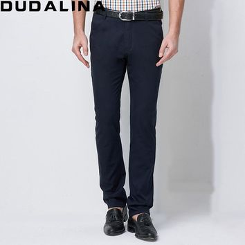 Dudalina Men Casual Pants 100% Cotton Classic Full Length Formal Khaki Pants Men Workwear Trousers Male Quality Brand Clothing