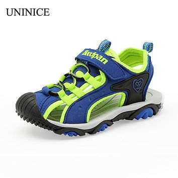 UNINICE 2018 Summer Children Shoes Anti-Slip Sole Sandals Casual Cut-Out Leather Beach Sandals Kids Sandals For Baby Boys Shoes