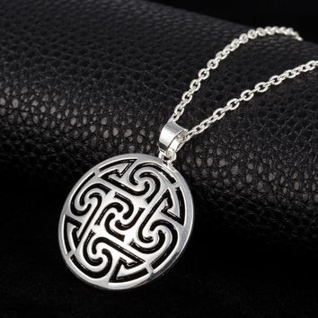 Minimal Norse Viking Pendant Necklace Flower of Life Pagan Gothic Jewelry Wicca Slavic Kolovra Vintage Accessories