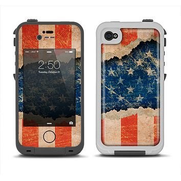 The Scratched Surface Peeled American Flag Apple iPhone 4-4s LifeProof Fre Case Skin Set