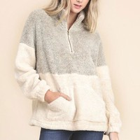 Two Tone Zip Pullover sweater - Taupe/Gray