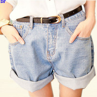 High Waist Denim Shorts Women Vintage Roll-up Hem Jeans Shorts Loose Plus Size Harem Hotpants Sport Running Denim Mini Shorts XL