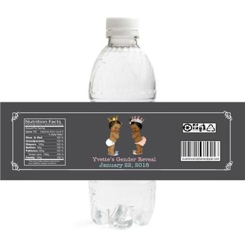 Prince or Princess Gender Reveal Water Bottle Labels