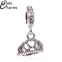 Free Shipping 1Pc Silver Bead Charms European Silver with Love Crown Charm Pendant Beads Fit Pandora Bracelet