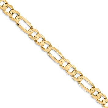 Men's 6mm 10K Yellow Gold Solid Concave Figaro Chain Necklace