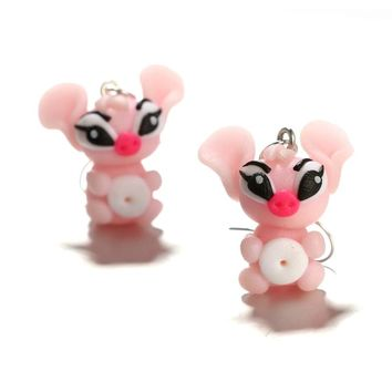 Tocona Handmade 3D Cartoon Pink Monster Stud Earrings for Women Children Cute Animal Polymer Clay Earrings Jewelry Brincos 6163