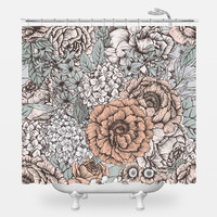Muted Floral Shower Curtain