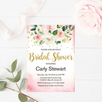 Floral Bridal Shower Invitation Blush Pink and Gold, Bridal Shower Invitation, Pink and Gold Bridal Shower Invitation, Bridal Shower Party