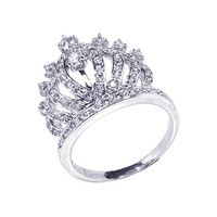 Sterling Silver Rhodium Plated, Crown Womens Ring