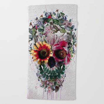 Sugar Skull Beach Towel by RIZA PEKER