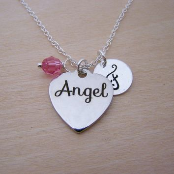 Angel Heart Charm Necklace -  Swarovski Birthstone Initial Personalized Sterling Silver Necklace / Gift for Her - Angel Charm