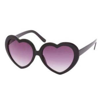 Black Plastic Heart-Shaped Sunglasses by Charlotte Russe