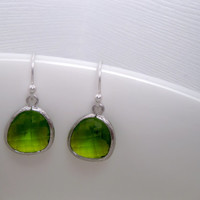 Fantasy Spring Green Drop Earrings With Sterling Silver