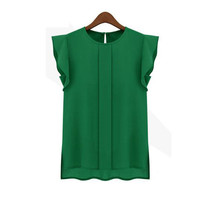 Handle My Business Green Chiffon Short Sleeve Top