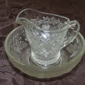 Creamer, Sugar Bowl, Vintage, Pressed, Depression Glass, Serving, Set, 1930's,  homeware