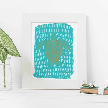 Turquoise Sea Turtle Modern Painting Wall Art Print
