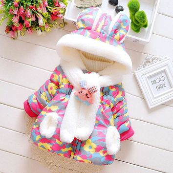 2017 Infant Baby Boys Parka Toddler Girls Snow Wear Baby Coat Cute Rabbit Baby Winter Jacket Thick Cotton-Padded Snowsuit Baby