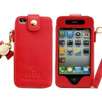 Iphone 4/4S/5  Leather Case (good Quality),iphone 4s leather case  red