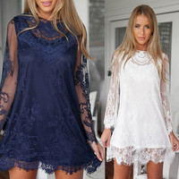 FASHION EMBROIDERY HOLLOW OUT LACE DRESS