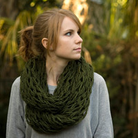 Olive Infinity Scarf, Knit Cowl, Dark Green Women's Accessories