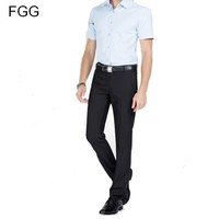 Twill Cotton Flat Office Work Wear Gentleman Black Suit Pants For Men Slim Business Trousers Groom Wedding Pants Dress Pants