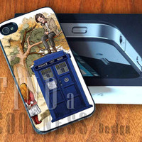 Alice in Wonderland and Doctor Who Tardis  - Print Custom Case - Rubber or Plastic - iPhone 4 or 4s / 5, Samsung S3 / S4, iPod 4 /5