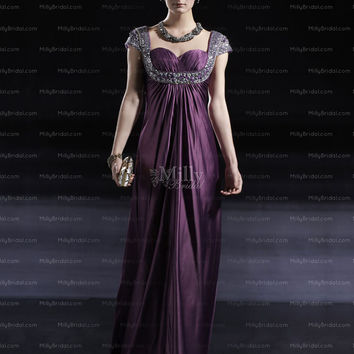 Empire Sweetheart Sequined Pleating Satin Floor-length Maxi Dress at Millybridal.com