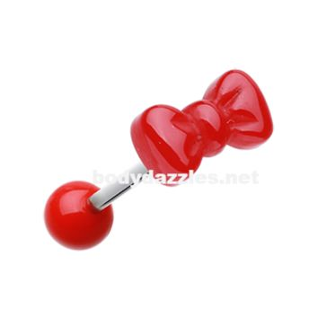Red Bow Tie Acrylic Barbell Tongue Ring  14ga Surgical Steel