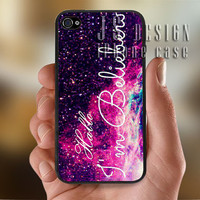 Hello I am a Belieber Galaxy Nebula  - Photo Print for iPhone 4/4s Case or iPhone 5 Case - Black or White