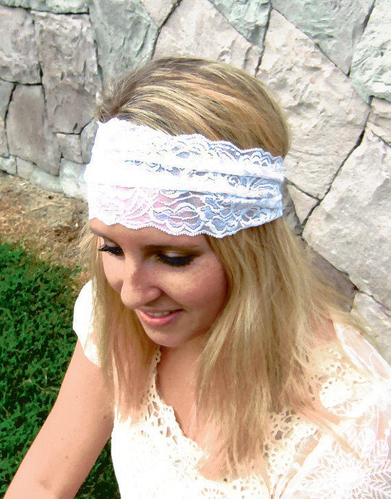 Stretchy White Lace Headband - Comfortable for Casual or Weddings