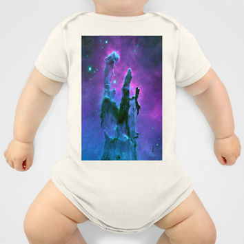 Blue & Purple Gaseous Nebula Galaxy Print Baby Clothes by 2sweet4words Designs