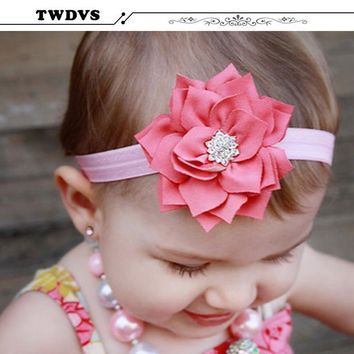 TWDVS Baby Lotus Flower Headband With Sparkly Pear Button Infant chiffon Headband Hair Band Hair Accessories W023