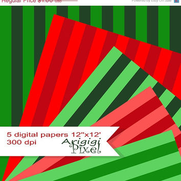 WEEKEND SALE 50% OFF instant download, striped digital collage sheet, red, green, Christmas color, festive background, digital paper pack, c