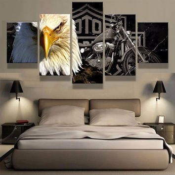 5 Pcs HD Home Decor  Harley Eagle print poster / picture