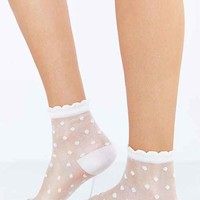 Sheer Polka Dot Sock- White One