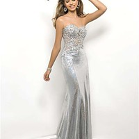 Silver Metalic Rhinestone Strapless Sweetheart Prom Dress - Unique Vintage - Cocktail, Pinup, Holiday & Prom Dresses.