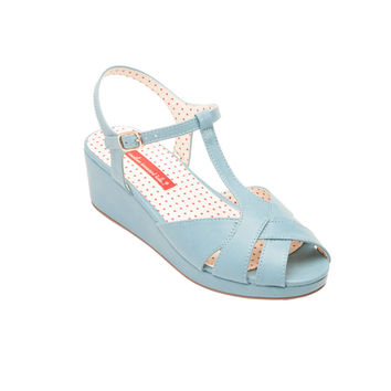 Kira T-Strap Mid Wedge Sandal In Cornflower Blue