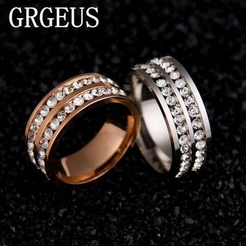 DCCKU62 Womens Mens Fashion Double Rows Rhinestones Titanium Steel Wedding Engagement Charm Rings
