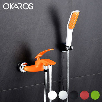 Colorful Bathtub Faucet W/ Head Held Shower Sprayer Bathroom Shower Set Single Handle Hot Cold Water Tap Mixer Torneira