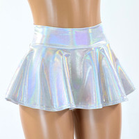 Flashbulb Holographic Metallic Circle Cut Mini Skirt Rave Clubwear EDM 151283