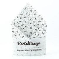 Pocket Handkerchief by BartekDesign White Gray Flowers