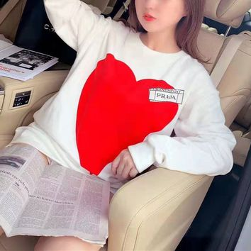 """Prada"" Women Casual Simple Hearts Letter Logo Print Round Neck Long Sleeve Sweater Tops"