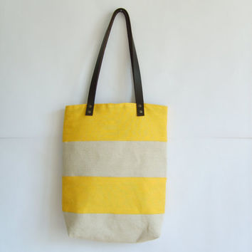 Yellow summer large tote bag, leather handles, beach bag, stripped